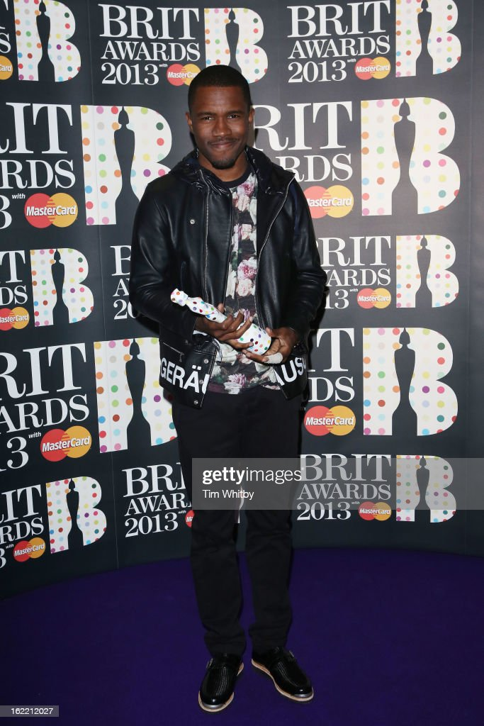 <a gi-track='captionPersonalityLinkClicked' href=/galleries/search?phrase=Frank+Ocean&family=editorial&specificpeople=7657747 ng-click='$event.stopPropagation()'>Frank Ocean</a> poses with the International Male Solo Artist award in the press room at the Brit Awards 2013 at the 02 Arena on February 20, 2013 in London, England.