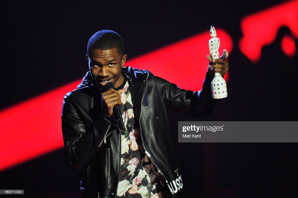 <a gi-track='captionPersonalityLinkClicked' href=/galleries/search?phrase=Frank+Ocean&family=editorial&specificpeople=7657747 ng-click='$event.stopPropagation()'>Frank Ocean</a> receives the award for International Male Solo Artist on stage during the Brit Awards 2013 at the 02 Arena on February 20, 2013 in London, England.