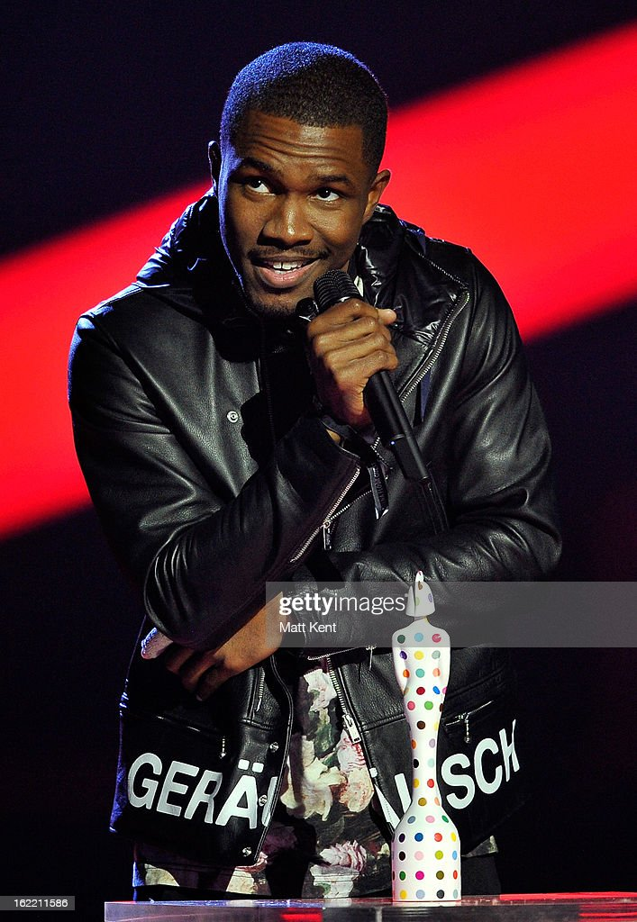 Frank Ocean receives the award for International Male Solo Artist on stage during the Brit Awards 2013 at the 02 Arena on February 20, 2013 in London, England.