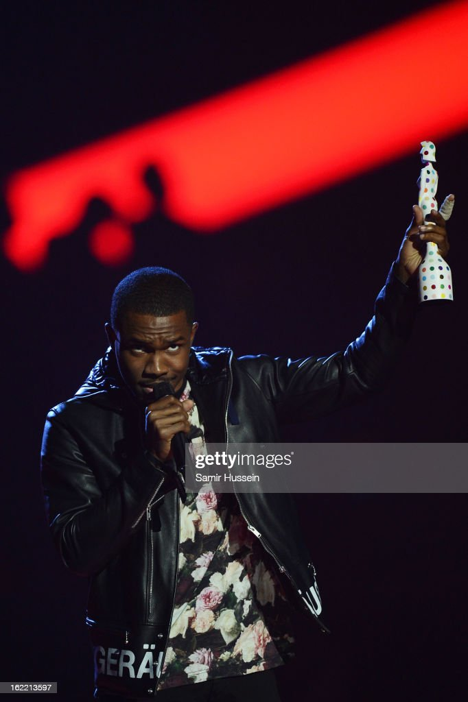 Frank Ocean receives the International Male Solo Artist award on stage during the Brit Awards 2013 at 02 Arena on February 20, 2013 in London, England.
