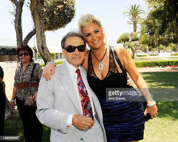 Frank Panza and Josie Goldberg attend the debut of reality TV star and playboy model Josie Goldberg's personal race horse at Hollywood Park on July...