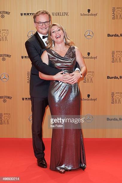 Frank Plasberg and Anne Gesthuysen attend the Kryolan At Bambi Awards 2015 Red Carpet Arrivals on November 12 2015 in Berlin Germany