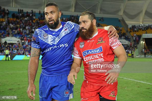 Frank Pritchard of Samoa speaks with Konrad Hurrell of Tonga after the International Test Match between TOA Samoa and Tonga at Cbus Super Stadium on...
