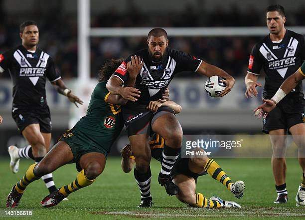 Frank Pritchard of the Kiwis is tackled during the ANZAC Test match between the New Zealand Kiwis and the Australian Kangaroos at Eden Park on April...