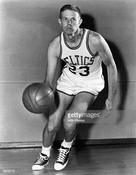Frank Ramsey of the Boston Celtics dribbles for a mock action portrait circa 1950's NOTE TO USER User expressly acknowledges and agrees that by...