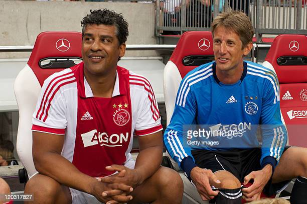 Frank Rijkaard and Edwin van der Sar look on during his Testimonial at the Amsterdam Arena on August 32011 in AmsterdamNetherlands