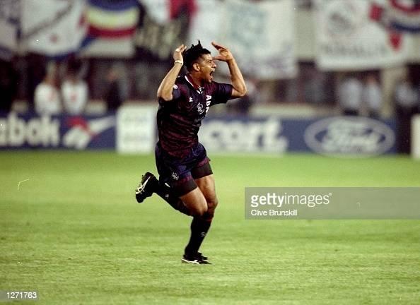 Frank Rijkaard of Ajax in action during the European Cup Final against AC Milan in Vienna Austria Ajax won 10 Mandatory Credit Clive Brunskill...
