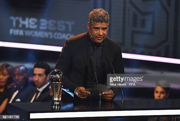 Frank Rijkaard of the Netherlands talks on stage during The Best FIFA Football Awards at TPC Studio on January 9 2017 in Zurich Switzerland