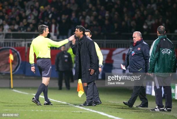 Frank RIJKAARD / Stefano FARINA Lyon / Barcelone Champions League 2007/2008 Photo Dave Winter / Icon Sport