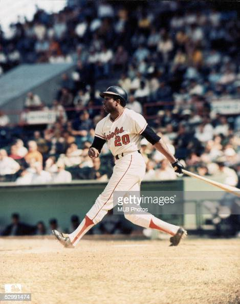 Frank Robinson of the Baltimore Orioles bats during an MLB game at Memorial Stadium in Baltimore Maryland Robinson played for the Baltimore Orioles...