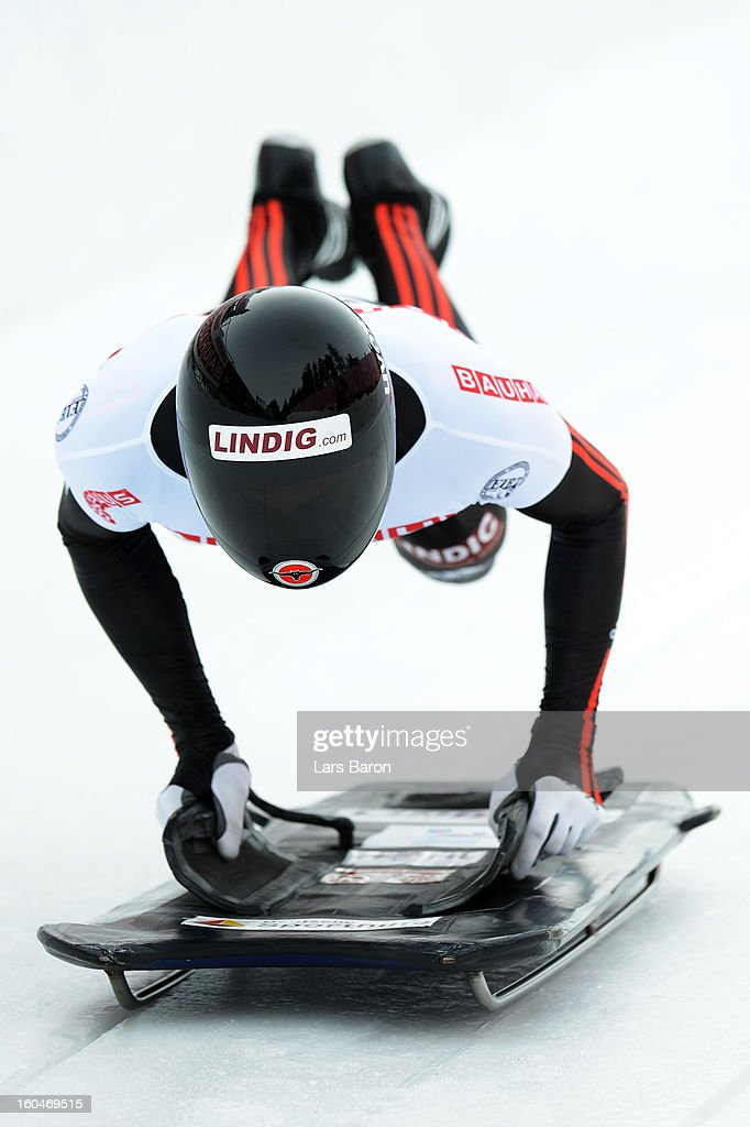 Frank Rommel of Germany competes during the man's skeleton first heat of the IBSF Bob & Skeleton World Championship at Olympia Bob Run on February 1, 2013 in St Moritz, Switzerland.