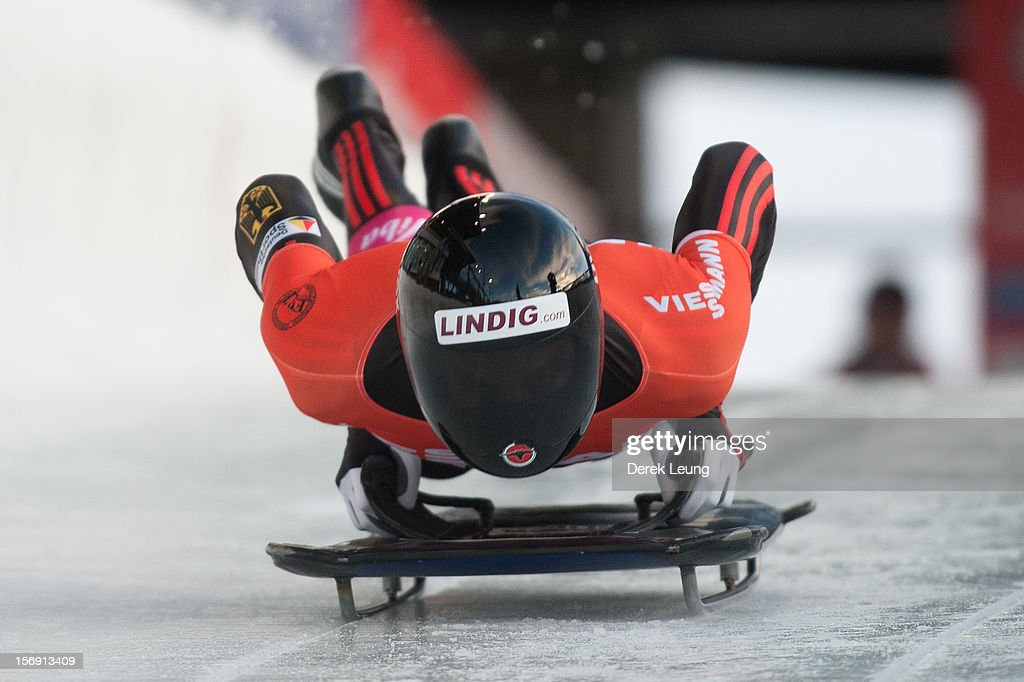 Frank Rommel of Germany competes in the skeleton on day 2 of the IBSF 2012 Bobsleigh and Skeleton World Cup on November 24, 2012 at the Whistler Sliding Centre in Whistler, British Columbia, Canada. Frank won first place.