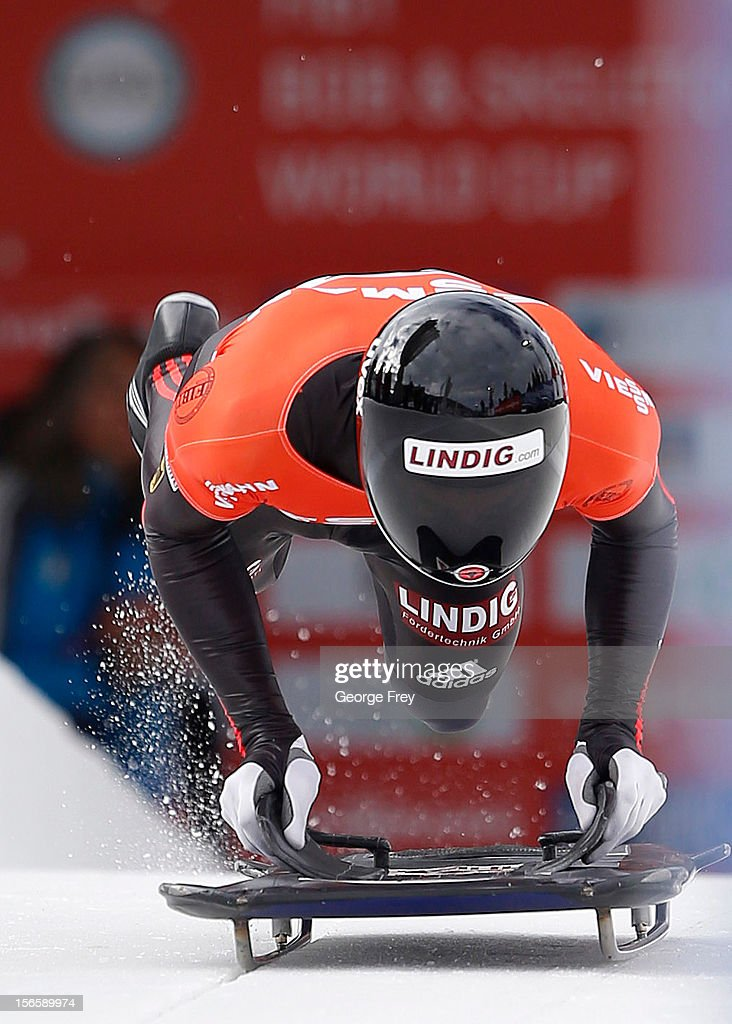 Frank Rommel of Germany finishes fifth in the FIBT men's skeleton world cup heat 1, on November 17, 2012 at Utah Olympic Park in Park City, Utah.