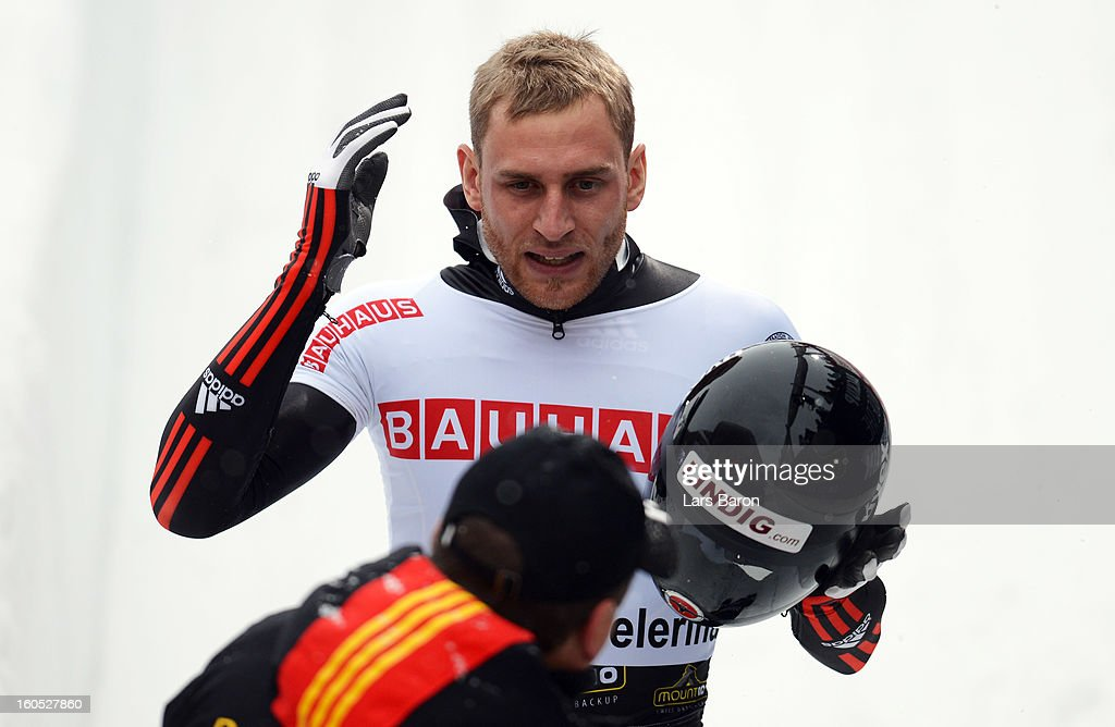 Frank Rommel of Germany looks dejected after the man's skeleton final heat of the IBSF Bob & Skeleton World Championship at Olympia Bob Run on February 2, 2013 in St Moritz, Switzerland.