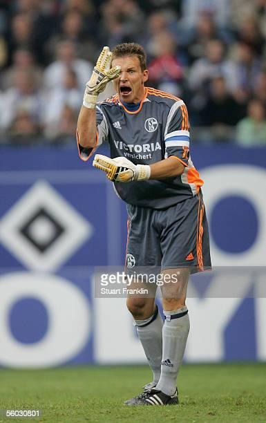Frank Rost of Schalke jestures during the Bundesliga match between Hamburger SV and Schalke 04 at the AOL Arena on October 29 2005 in Hamburg Germany