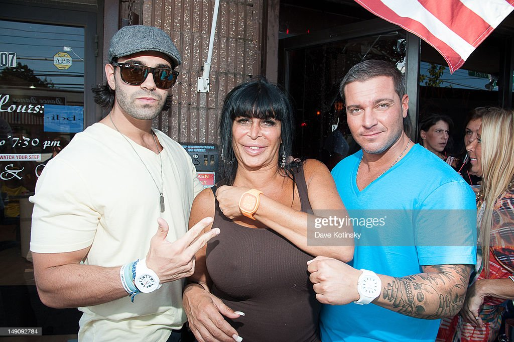 Frank Russ,Angela '<a gi-track='captionPersonalityLinkClicked' href=/galleries/search?phrase=Big+Ang&family=editorial&specificpeople=8749866 ng-click='$event.stopPropagation()'>Big Ang</a>' Raiola and Anthony Cracchiolo at Drunken Monkey on July 22, 2012 in New York City.