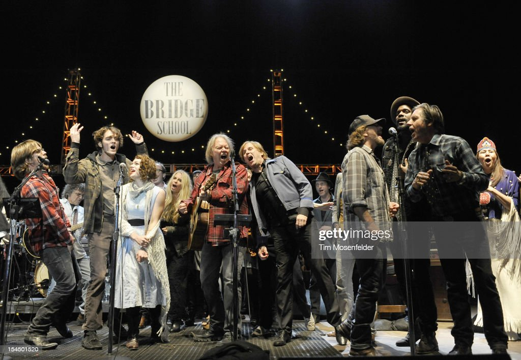 Frank Sampedro Lukas Nelson Neil Young Eddie VedderGary Clark Jr and John Doe perform the as part of the Finale at the 26th Annual Bridge School...