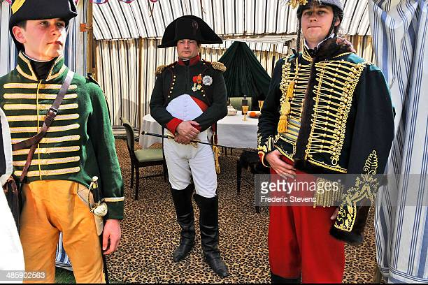 Frank Samson plays Napoleon as people take part in the reenactment of Napoleon's farewell to his guard on April 20 2014 in Fontainebleau France On...