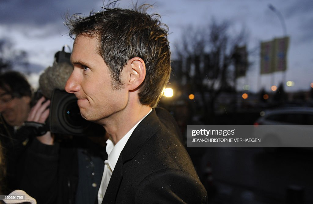 Frank Schleck, tested positive for a diuretic (Xipamide) on the Tour de France 2012, arrives to see the decision of the Luxembourg Anti-Doping Agency (Agence Luxembourgeoise Antidopage - ALAD), on January 30, 2013 in Luxembourg. Schleck was banned for one year by Luxembourg's anti-doping body on Wednesday for failing a drugs test on last year's Tour de France, the body's president Robert Schuller announced. CHRISTOPHE VERHAEGEN