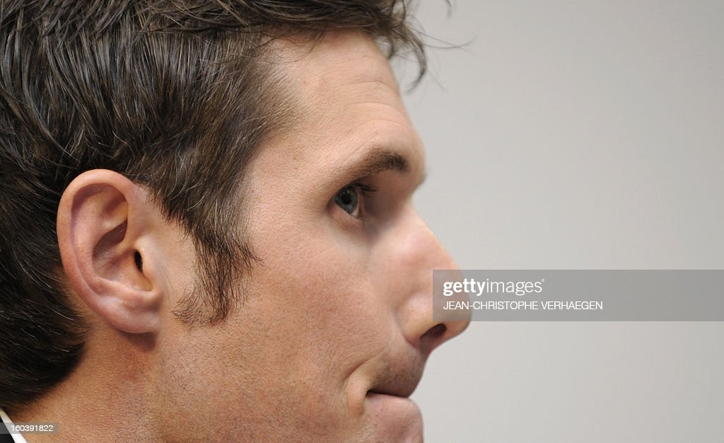 Frank Schleck, tested positive for a diuretic (Xipamide) on the Tour de France 2012, attends a press conference after the decision of the Luxembourg Anti-Doping Agency (Agence Luxembourgeoise Antidopage - ALAD), on January 30, 2013 in Luxembourg. Schleck was banned for one year by Luxembourg's anti-doping body (ALAD) on Wednesday for failing a drugs test on last year's Tour de France, the body's president Robert Schuller announced.AFP PHOTO / JEAN-CHRISTOPHE VERHAEGEN