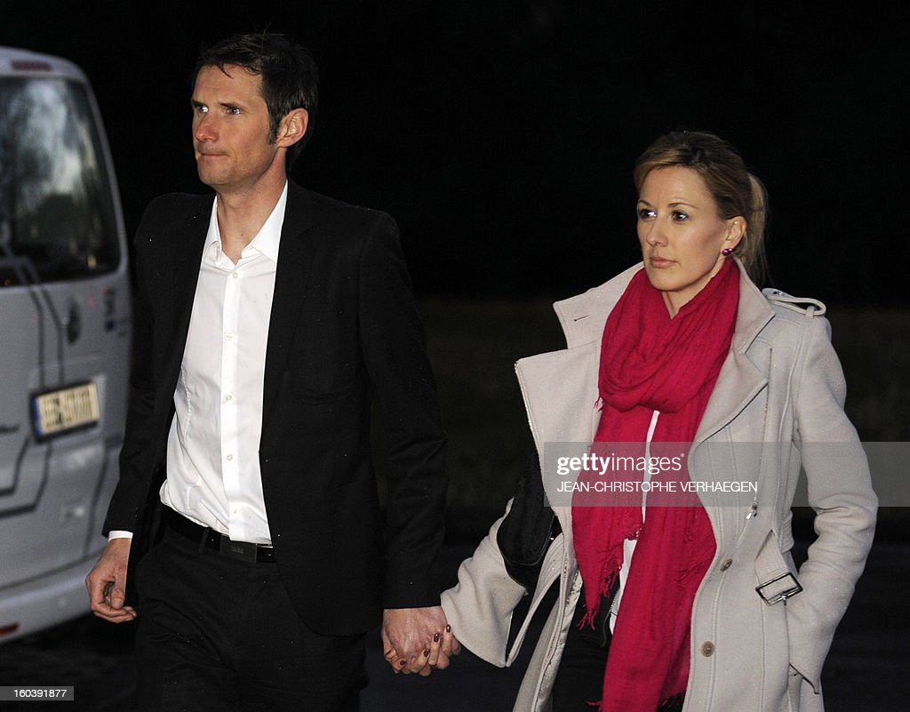Frank Schleck (2ndR), tested positive for a diuretic (Xipamide) on the Tour de France 2012, arrives with his wife Martine (R) at the Luxembourg Anti-Doping Agency (Agence Luxembourgeoise Antidopage - ALAD) to learn their decision, on January 30, 2013 in Luxembourg. Schleck was banned for one year by Luxembourg's anti-doping body (ALAD) on Wednesday for failing a drugs test on last year's Tour de France, the body's president Robert Schuller announced. CHRISTOPHE VERHAEGEN