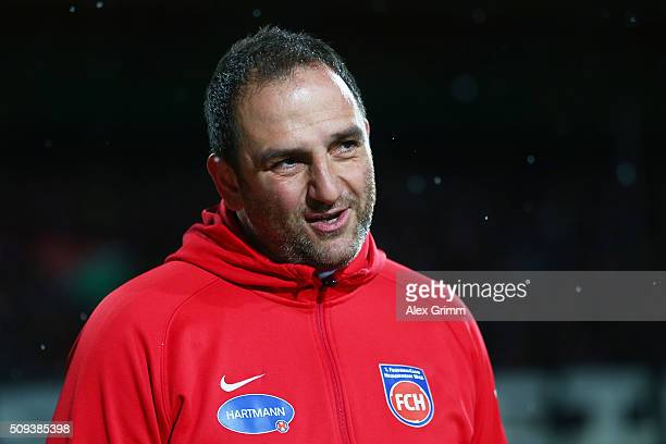 Frank Schmidt the head coach of 1FC Heidenheim during the DFB Cup quarter final match between 1 FC Heidenheim and Hertha BSC at VoithArena on...