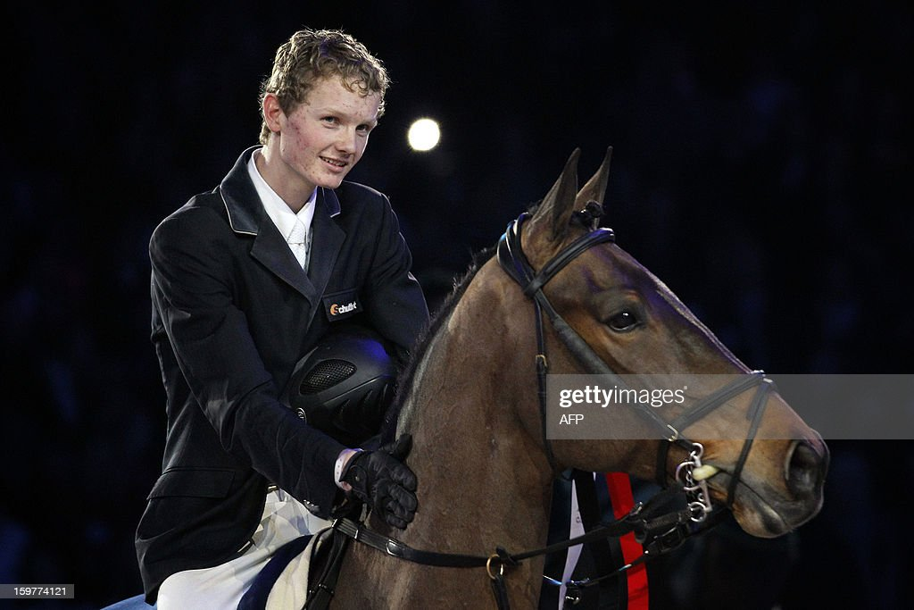 Frank Schuttert of The Netherlands reacts as he rides his horse Winchester HS at the Jumping Amsterdam 2013, in Amsterdam, the Netherlands, on January 20, 2013. Schuffert won the Grand Prix of Amsterdam for international jumping 1,60m.