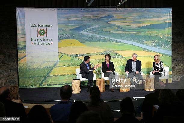 Frank Sesno Joan Ruskamp Bruce Rominger and Julie Maschhoff speaks at The New York Times Food For Tomorrow Conference At Stone Barns NY on November...