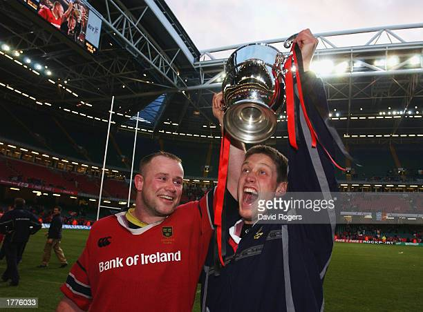 Frank Sheahan and Ronan O'Gara of Munster celebrate victory after the Celtic League Final between Neath and Munster held on February 1 2003 at the...