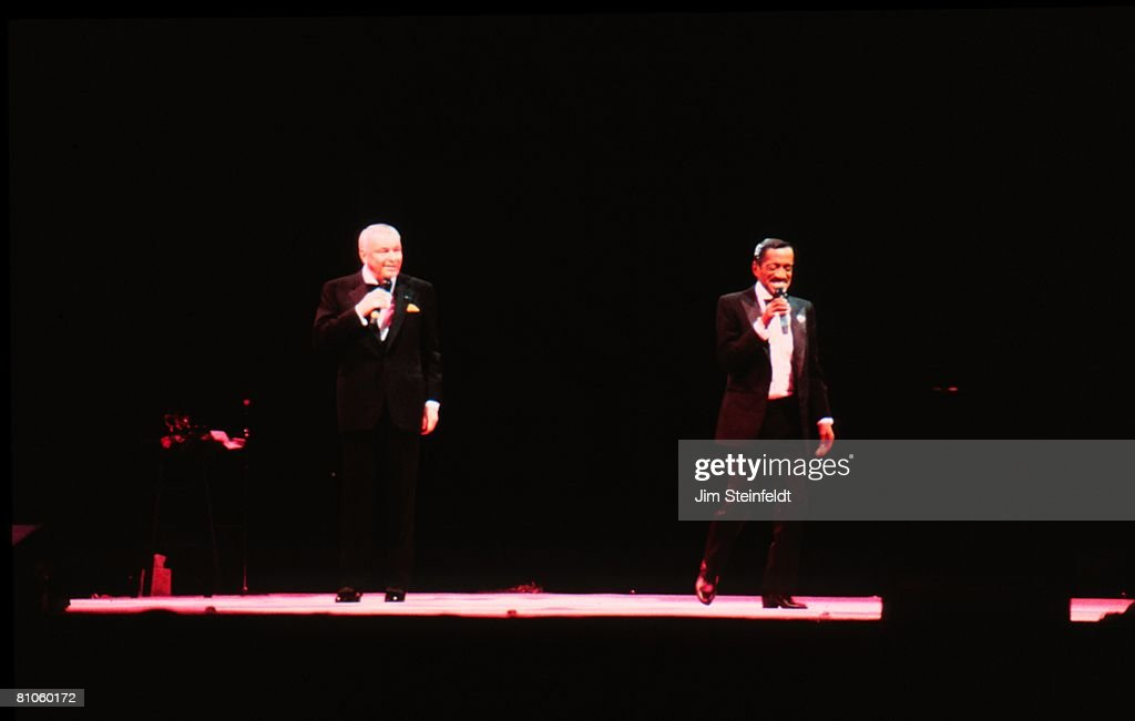 Frank Sinatra and Sammy Davis Jr. (L-R) perform with the Rat Pack in Minneapolis, Minnesota in 1994.
