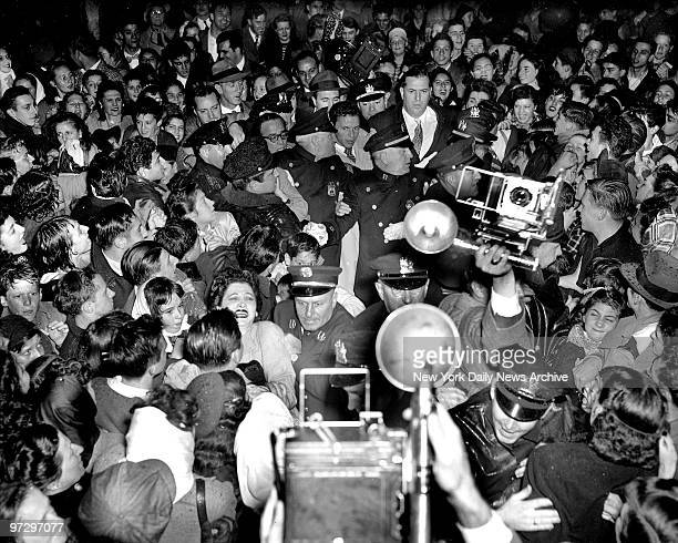 Frank Sinatra being mobbed by fans in Hoboken New Jersey