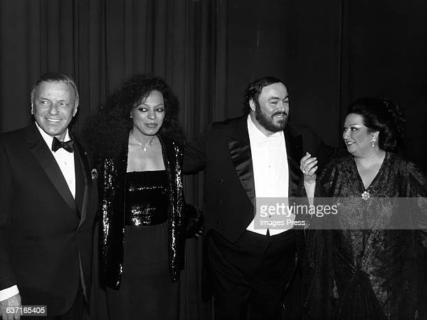 Frank Sinatra Diana Ross Luciano Pavarotti and Montserrat Caballe perform at the Benefit concert for the Centennial of the Memorial SloanKettering...