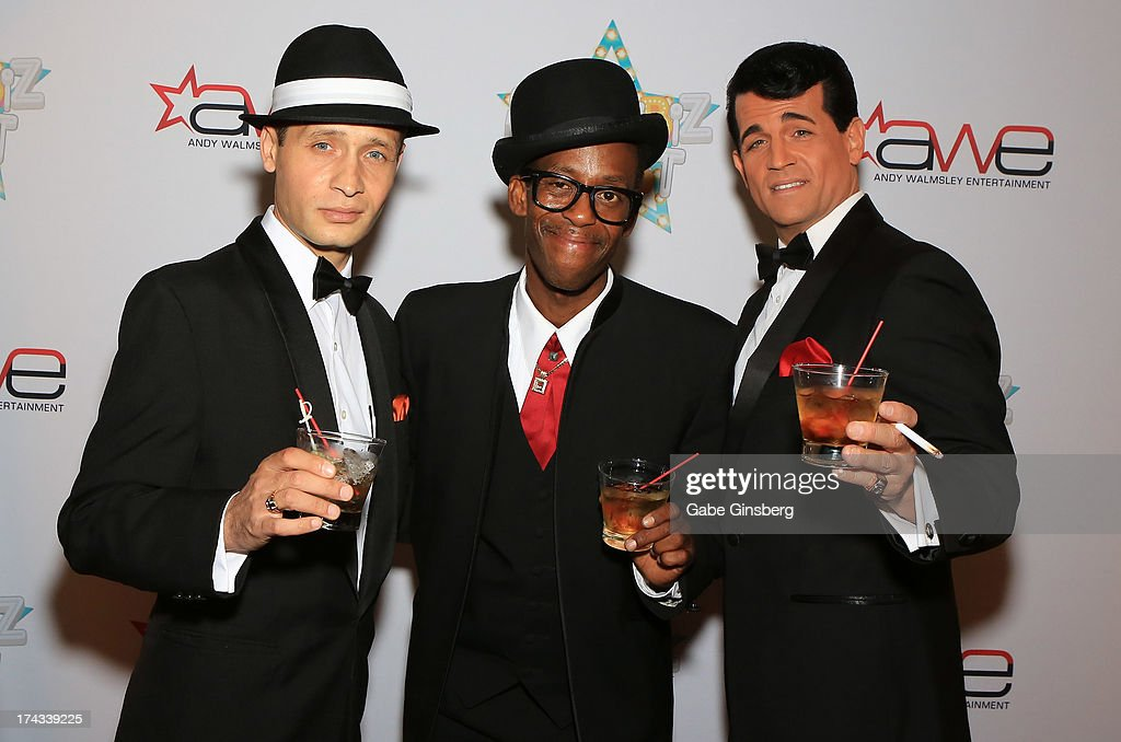 Frank Sinatra impersonator David De Costa, Sammy Davis Jr. impersonator Doug Stark and Dean Martin impersonator Johnny Edwards arrive at the 'Showbiz Roast of Oscar Goodman' at the Stratosphere Casino Hotel on July 23, 2013 in Las Vegas, Nevada.