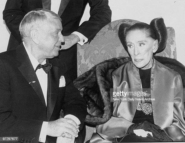 Frank Sinatra joins Martha Graham at the Martha Graham Dance Company opening night gala at the Plaza Hotel