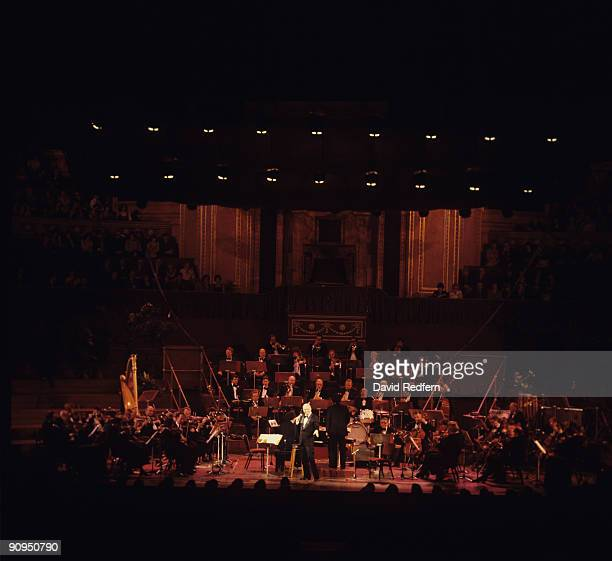 Frank Sinatra performs on stage at the Royal Albert Hall in London England in September 1980
