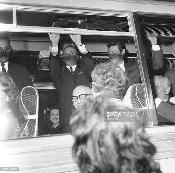 Frank Sinatra seen here on the coach at the premiere of the Cold War thriller The Manchurian Candidate 15th June 1962