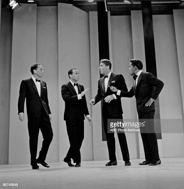 SHOW 1960 Frank Sinatra with 'Rat Pack' members Joey Bishop Peter Lawford and Sammy Davis Jr