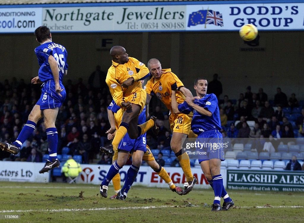 Frank Sinclair of Leicester scores during the Nationwide League Division One match between Gillingham and Leicester City at The Priestfield Stadium in Gillingham, on January 18, 2003 in Gillingham, England. (Photo by Clive Rose/Getty Images).