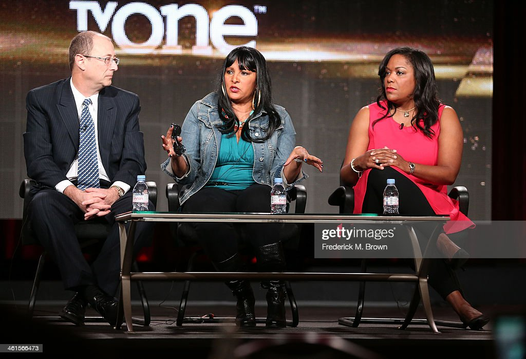 Frank Sinton, Executive Producer, actress Pam Grier and D'Angela Proctor, SVP Programming and Production, TV One, speak onstage during the 'Unsung Hollywood' panel discussion of the TV One portion of the 2014 Winter Television Critics Association tour at the Langham Hotel on January 9, 2014 in Pasadena, California.