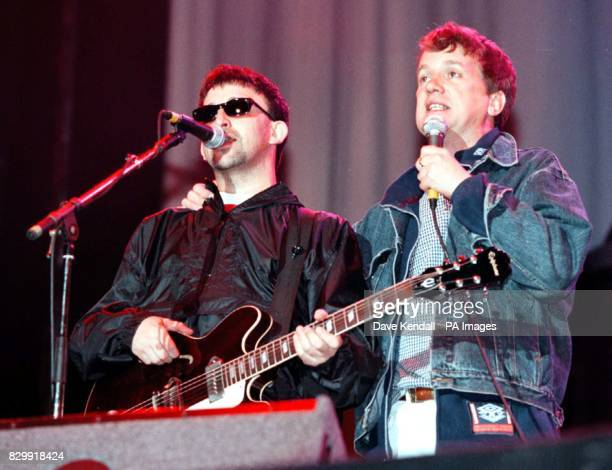 Frank Skinner joins Ian Broudie lead singer of the Lightning Seeds for 'Footballs Coming Home' at the Hillsborough Justice Concert