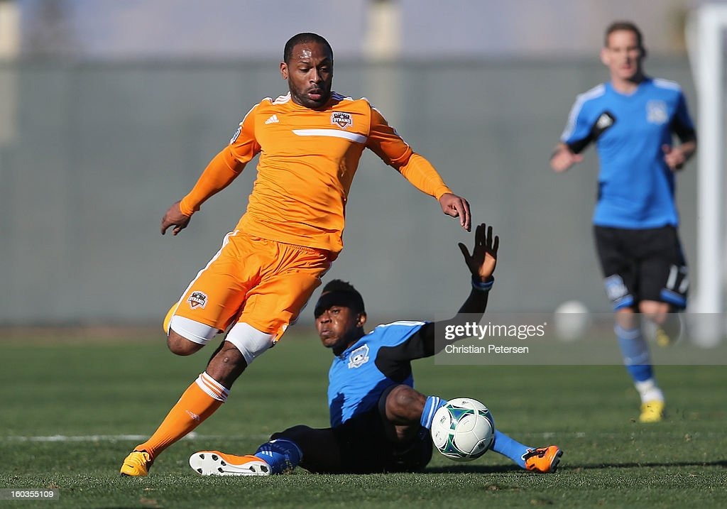 Frank Songo'o #39 of the Houston Dynamo controls the ball during The Desert Friendlies Presented By FC Tucson against the San Jose Earthquakes at Kino Sports Complex on January 29, 2013 in Tucson, Arizona. The Earthquakes defeated the Dynamo 2-0.
