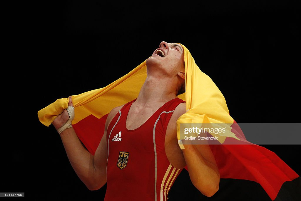 Frank Stabler of Germany celebrate victory against Georgian Carpen of Romania after Men's GrecoRoman 66kg category final match at the European...