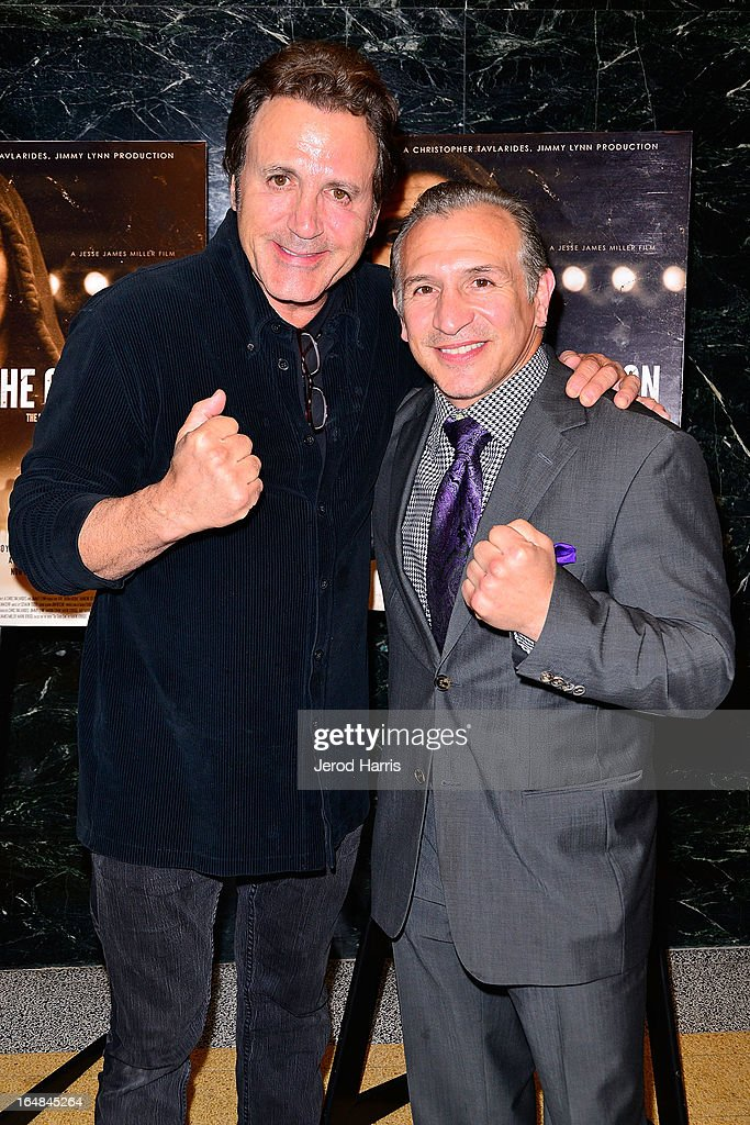 <a gi-track='captionPersonalityLinkClicked' href=/galleries/search?phrase=Frank+Stallone&family=editorial&specificpeople=224755 ng-click='$event.stopPropagation()'>Frank Stallone</a> and Ray 'Boom Boom' Mancini arrive at the Los Angeles premiere of 'The Good Son' at Linwood Dunn Theater at the Pickford Center for Motion Study on March 28, 2013 in Hollywood, California.