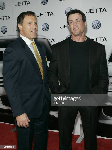 Frank Stallone and Sylvester Stallone during The Premiere of the 2005 Volkswagen Jetta Arrivals at The Lot in Hollywood California United States