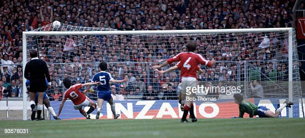 Frank Stapleton scores Manchester United's first goal during the FA Cup Final between Brighton and Manchester United held at Wembley Stadium London...