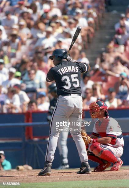 Frank Thomas of the Chicago White Sox bats against the California Angels at the Big A circa 1992 in AnaheimCalifornia
