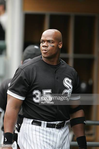 Frank Thomas of the Chicago White Sox looks on from the dugout during the game against the Detroit Tigers at US Cellular Field on July 20 2005 in...