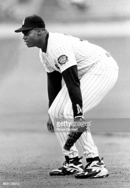 Frank Thomas of the Chicago White Sox plays defense during an MLB game circa 1996 at Comiskey Park in Chicago Illinois