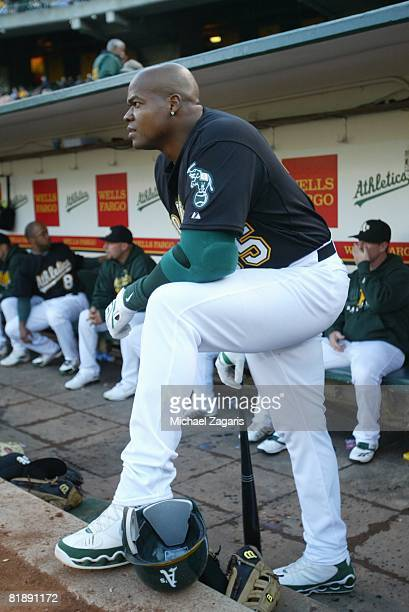 Frank Thomas of the Oakland Athletics in the dugout during the game against the Tampa Bay Rays at the McAfee Coliseum in Oakland California on May 20...