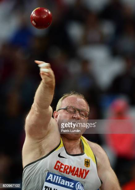 Frank Tinnemeier of Germany in action during the final of the mens shot put F42 on day nine of the IPC World ParaAthletics Championships 2017 at...